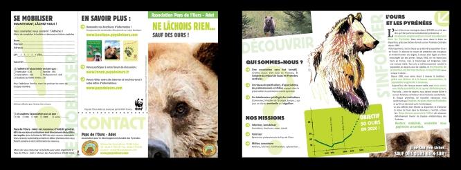 Dépliant de l'association Pays de l'Ours - Adet, qui milite pour la protection de l'ours et le développement durable dans les Pyrénées (Arbas, 31)