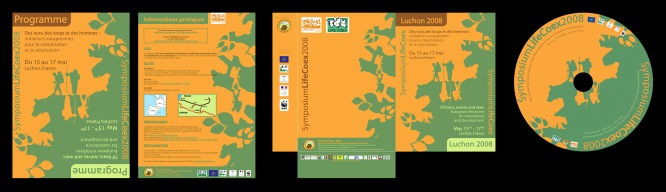 """Création de supports de communication (programme, chemise cartonnée, DVD) autour du colloque Life Coex """"Des ours, des loups et des hommes : initiatives européennes pour la cohabitation et la valorisation"""" (2008)"""