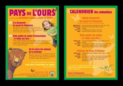 Flyer pour promouvoir les animations estivales de l'association Pays de l'Ours - Adet (Arbas, 31)