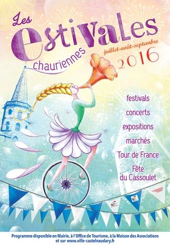 """Affiche pour """"Les Estivales Chauriennes"""", première édition (2016)."""