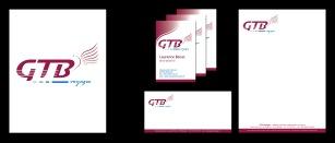 Création de l'identité visuelle de la société GTB Voyages, transport en autocars (Mirande, 32) : logo, cartes de visite, carte de correspondance et papier en-tête