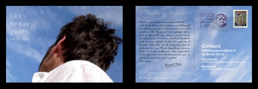 """Flyer Vincent Pérez, pour la sortie de l'album """"Les beaux jours"""" (chanson française)"""
