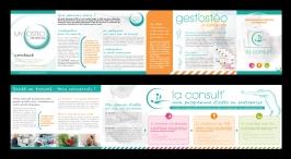 """Conception graphique du dépliant pour """"La Consult'"""", programme d'ostéopathie en entreprise proposé par la société My Ostéo Prévention."""