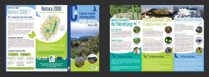 Dépliant 3 volets édité par Le Parc Naturel Régional de Chartreuse, dans le cadre du programme européen Natura 2000. Le but : sensibiliser les usagers du Parc à la préservation des milieux et des espèces qu'il abrite (faune et flore).