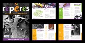 """Conception graphique du seizième numéro du livret """"Repères"""", agenda des animations culturelles du réseau des bibliothèques de la Communauté de Communes Castelnaudary Lauragais Audois."""