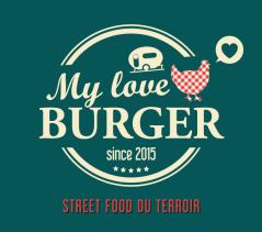 """Création du logo de """"My Love Burger"""", entreprise portée par Julien Gomez proposant sa """"street food du terroir"""" à bord de sa cuisine ambulante dans la région de Castelnaudary. Projet réalisé dans le cadre d'un stage de formation destiné à des porteurs de projet (en partenariat avec la BGE Ouest Audois)."""